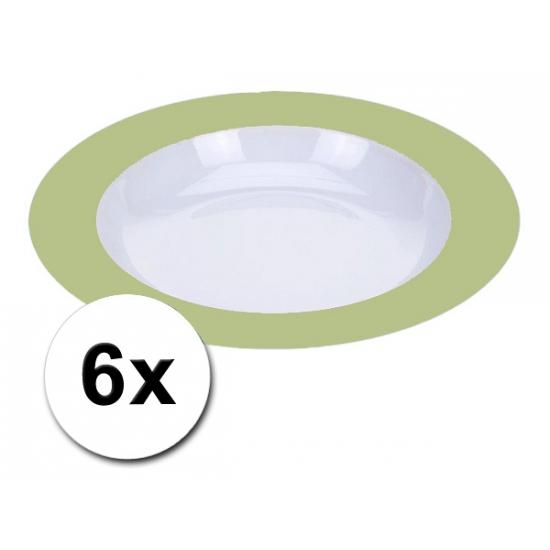 Diepe plastic borden groen 6 stuks
