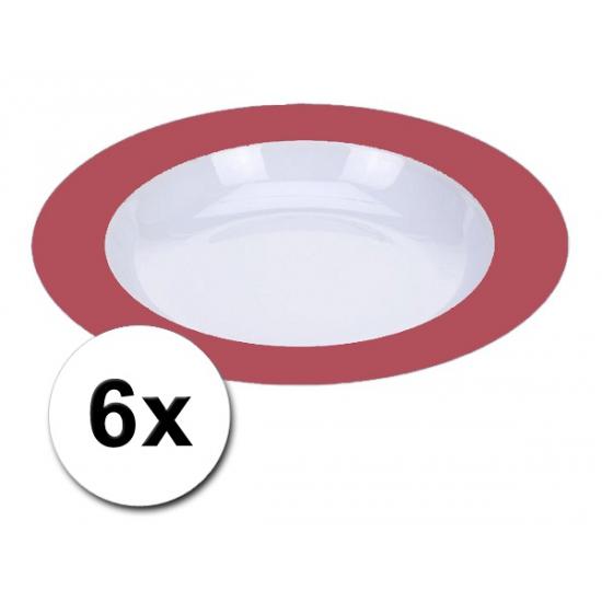 Diepe plastic borden rood 6 stuks