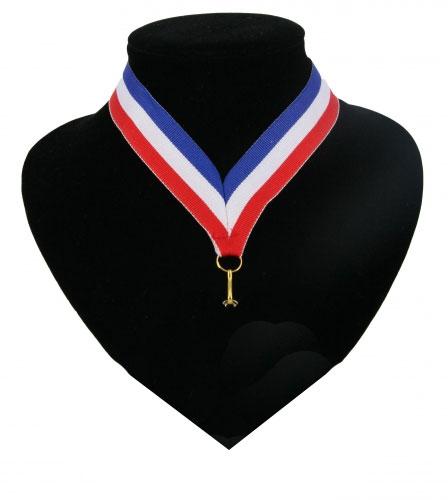 Fan medaille lint blauw wit en rood