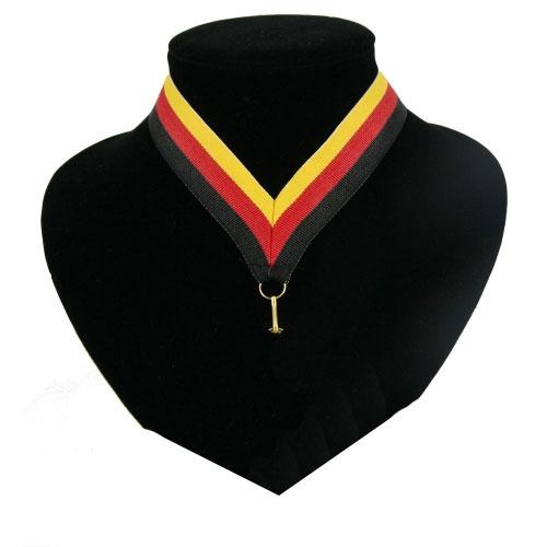 Fan medaille lint zwart  rood en geel
