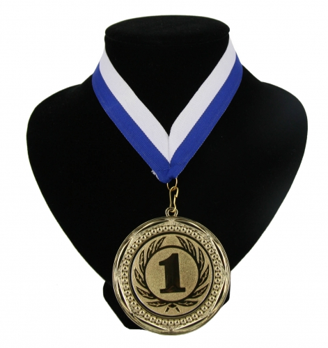 Fan medaille nr  1 lint blauw en wit
