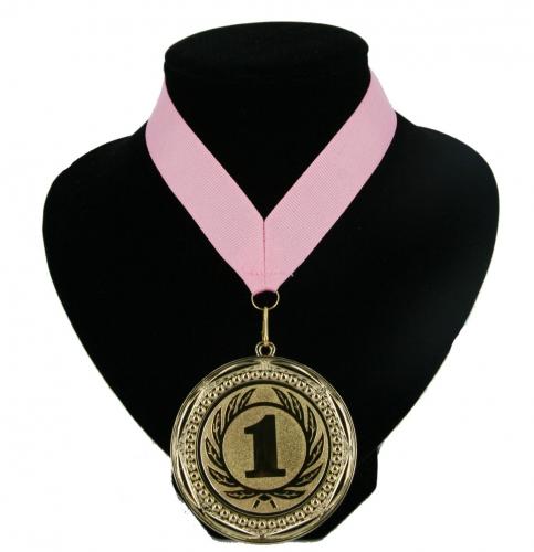 Fan medaille nr  1 lint licht roze