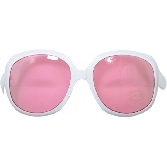 Feest brillen wit met roze glazen