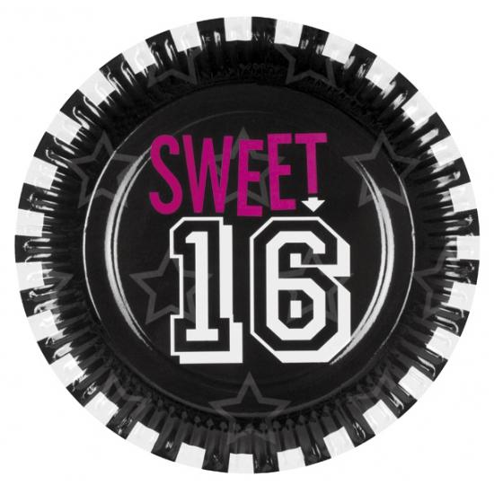 Feestartikelen bordjes sweet 16 6 stuks
