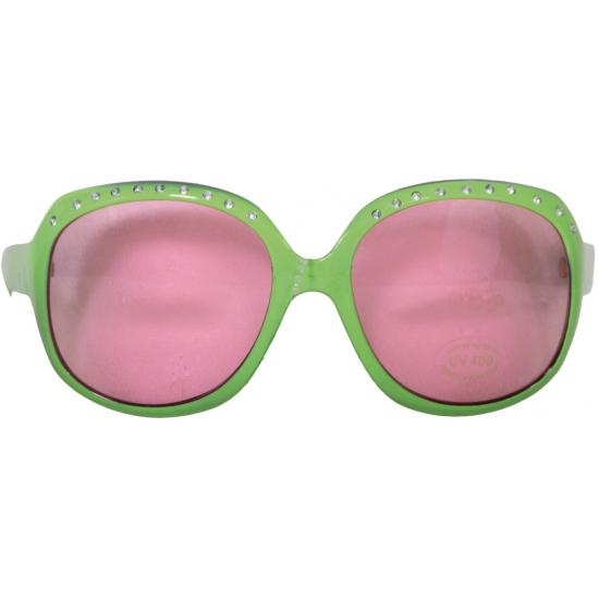 Feestbrillen groen met zilveren steentjes