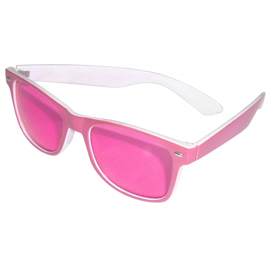 Feestbrillen roze met witte binnenkant