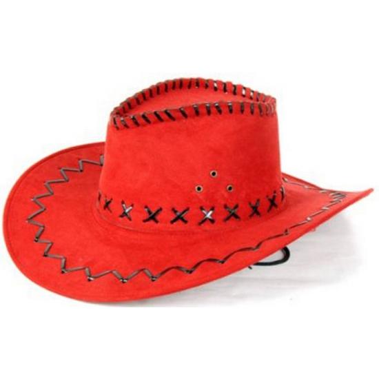 Feesthoeden lederlook cowboyhoed rood