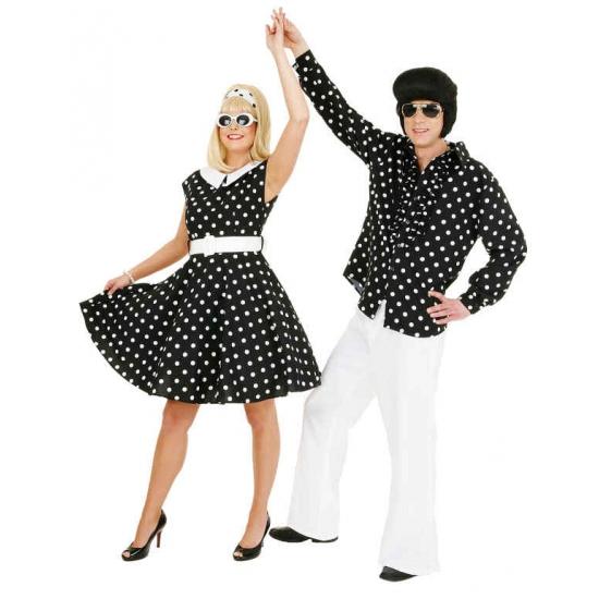 Fifties jurkje met polka dots zwart wit