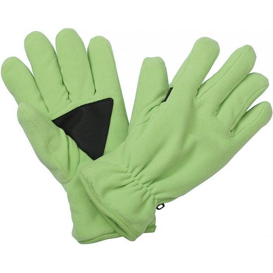Fleece handschoenen met antislip lime groen