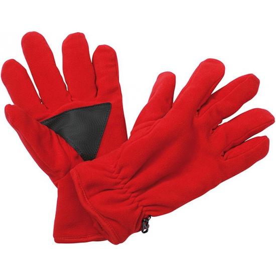 Fleece handschoenen met antislip rood
