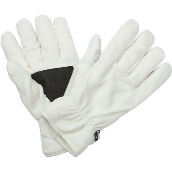 Fleece handschoenen off white met antislip