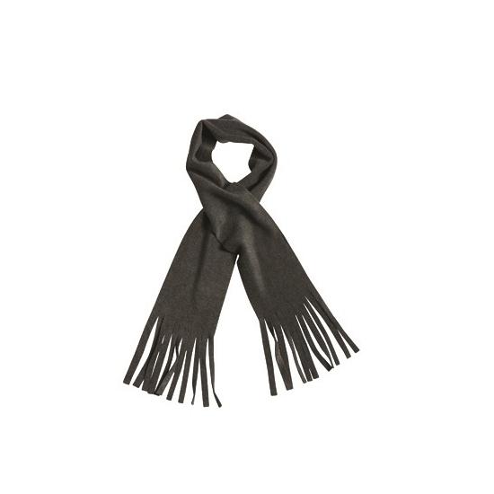 Fleece sjaal met franjes antraciet voor volwassenen