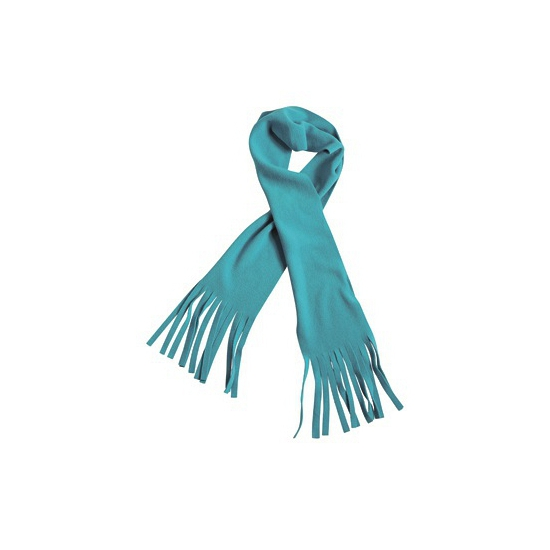 Fleece sjaal met franjes aqua voor volwassenen