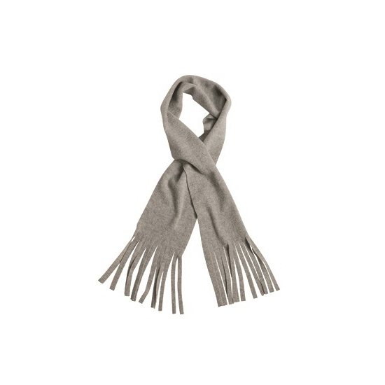Fleece sjaal met franjes licht grijs voor volwassenen