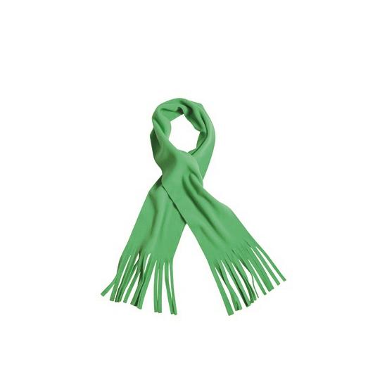 Fleece sjaal met franjes lime groen voor volwassenen