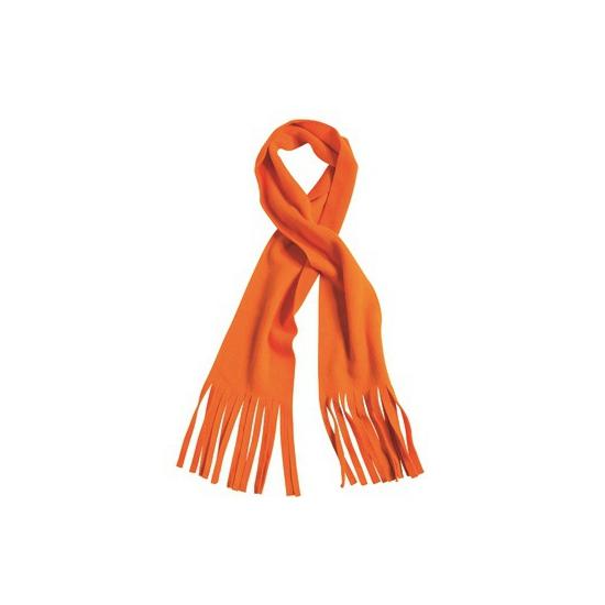Fleece sjaal met franjes oranje voor volwassenen