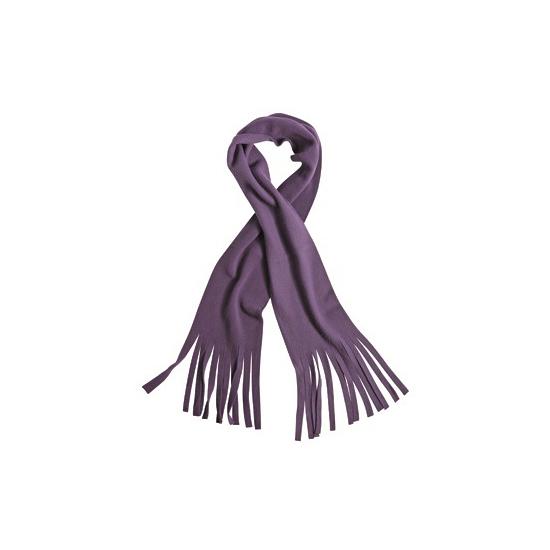 Fleece sjaal met franjes paars voor volwassenen