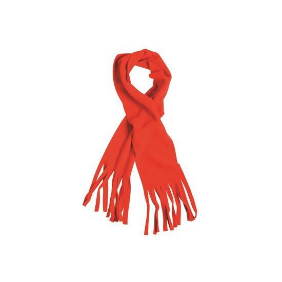 Fleece sjaal met franjes rood voor volwassenen