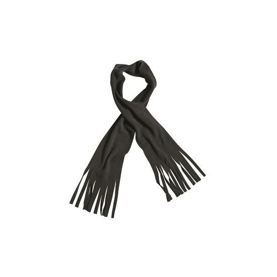 Fleece sjaal met franjes zwart voor volwassenen