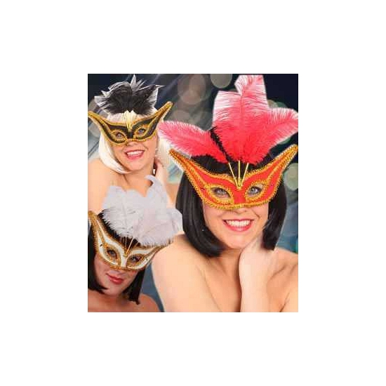 Gala oogmaskers met veertjes