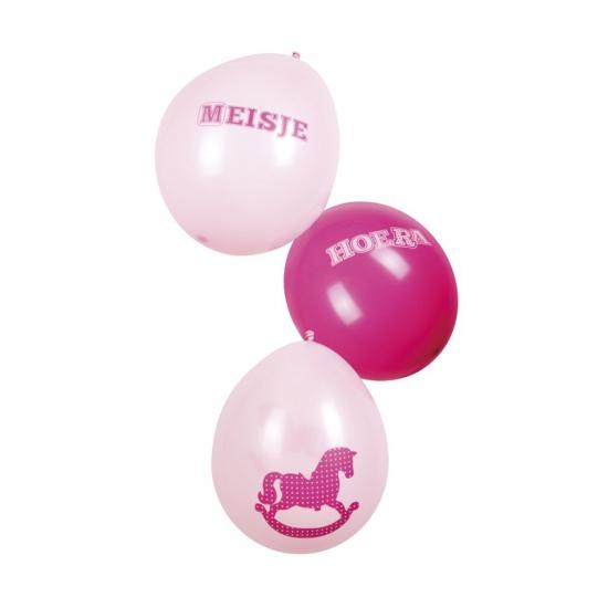 Geboorte ballonnen een meisje zes stuks