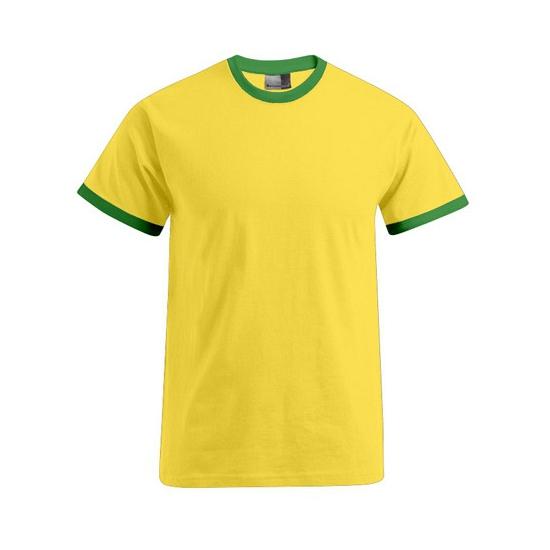 Geel met groen contrast shirt