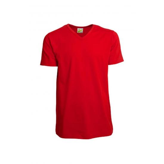 Gekleurd rood V hals T shirt voor heren