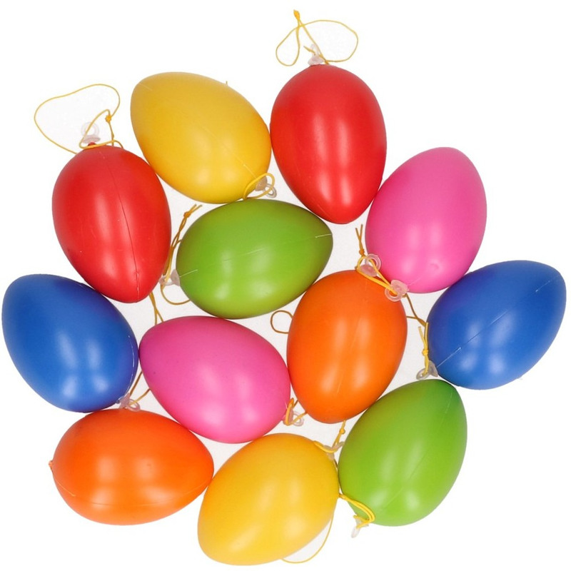 Gekleurde eieren om op te hangen 12 stuks