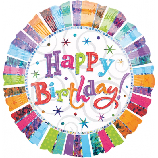 Gekleurde folie ballon Birthday