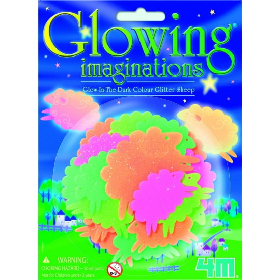 Gekleurde glow in the dark schaapjes