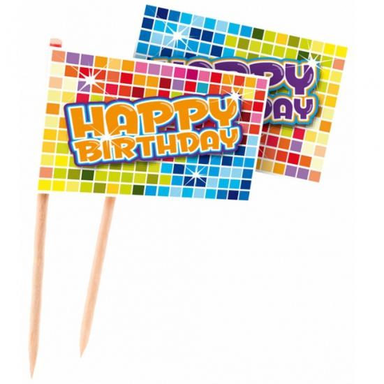 Gekleurde Happy Birthday prikkers 24 stuks