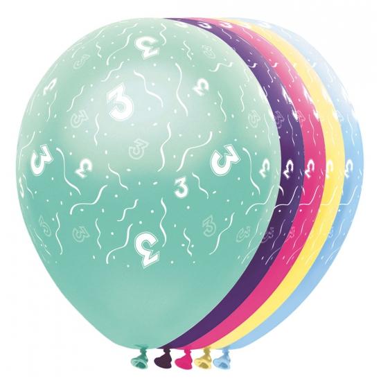 Gekleurde helium ballonnen 3 jaar