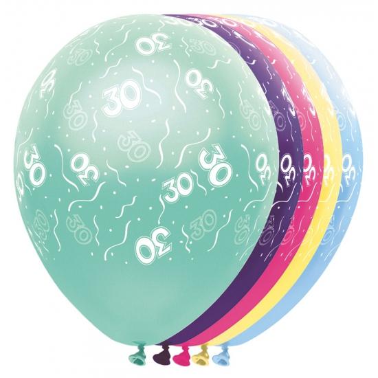 Gekleurde helium ballonnen 30 jaar
