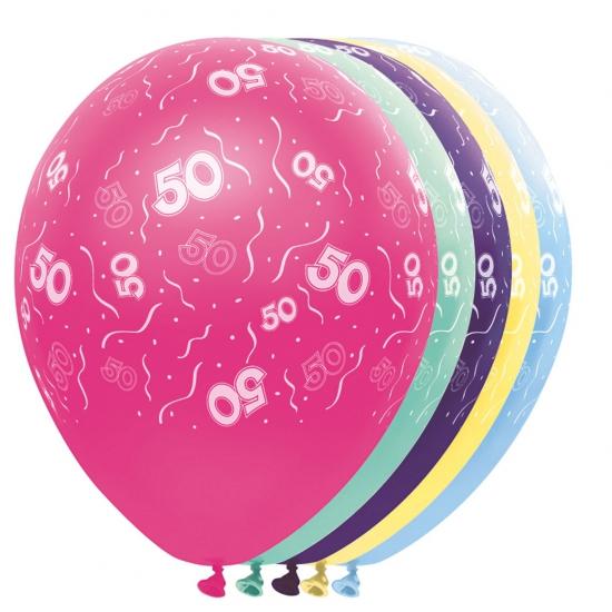 Gekleurde helium ballonnen 50 jaar