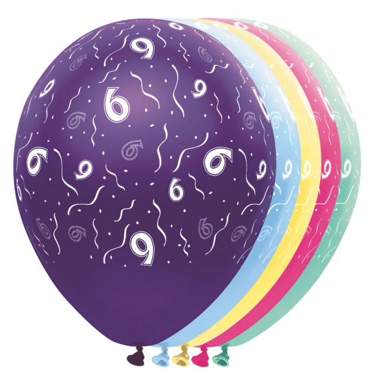 Gekleurde helium ballonnen 6 jaar