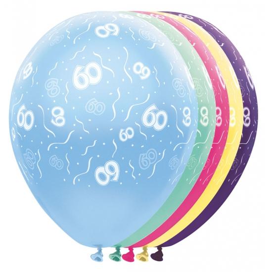 Gekleurde helium ballonnen 60 jaar