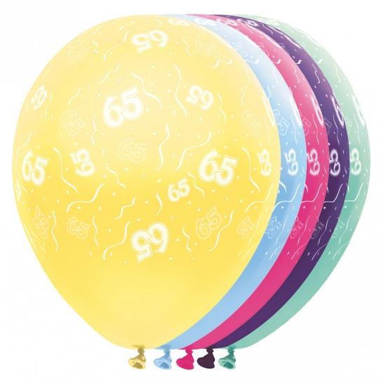 Gekleurde helium ballonnen 65 jaar