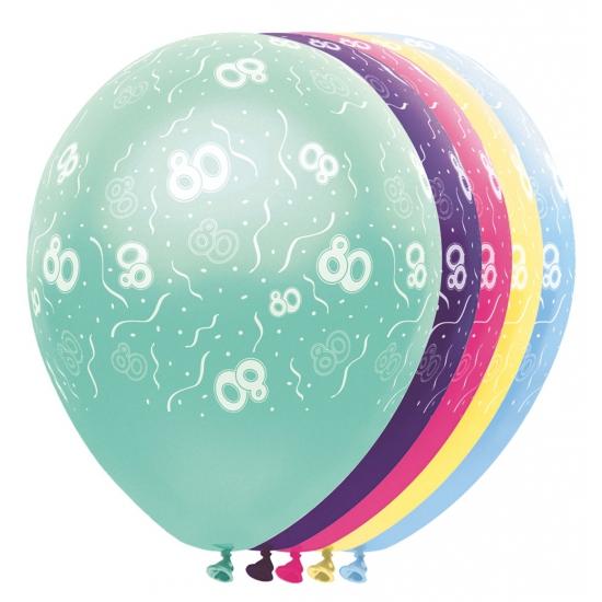 Gekleurde helium ballonnen 80 jaar