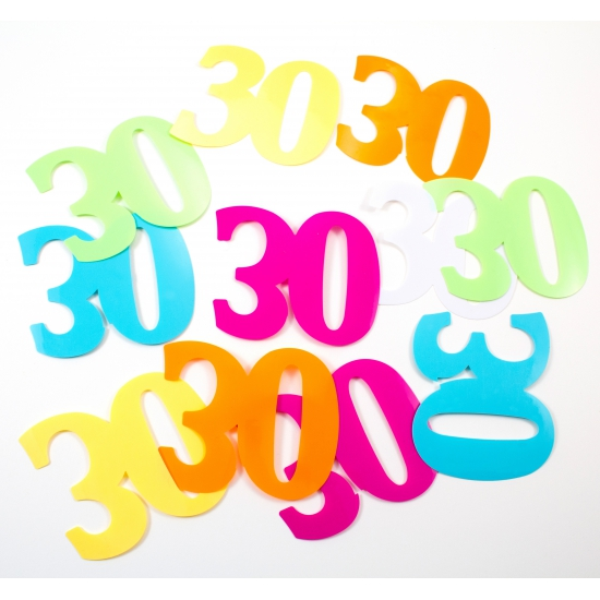Gekleurde mega confetti 30 jaar