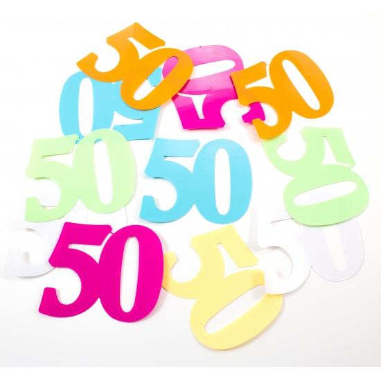 Gekleurde mega confetti 50 jaar