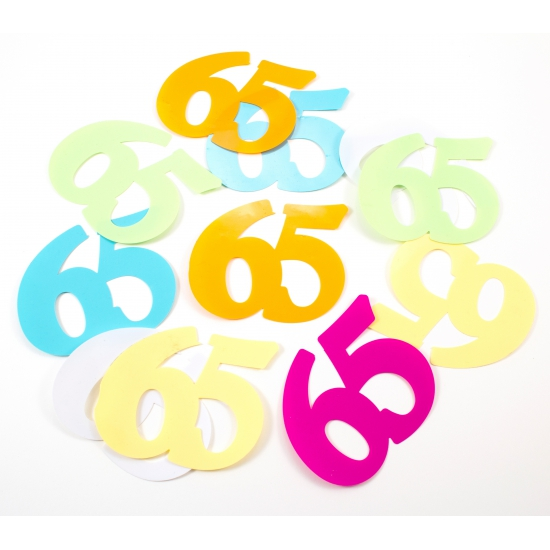 Gekleurde mega confetti 65 jaar