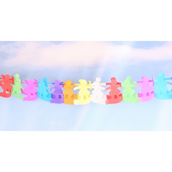 Gekleurde poppetjes slinger van papier 6 meter