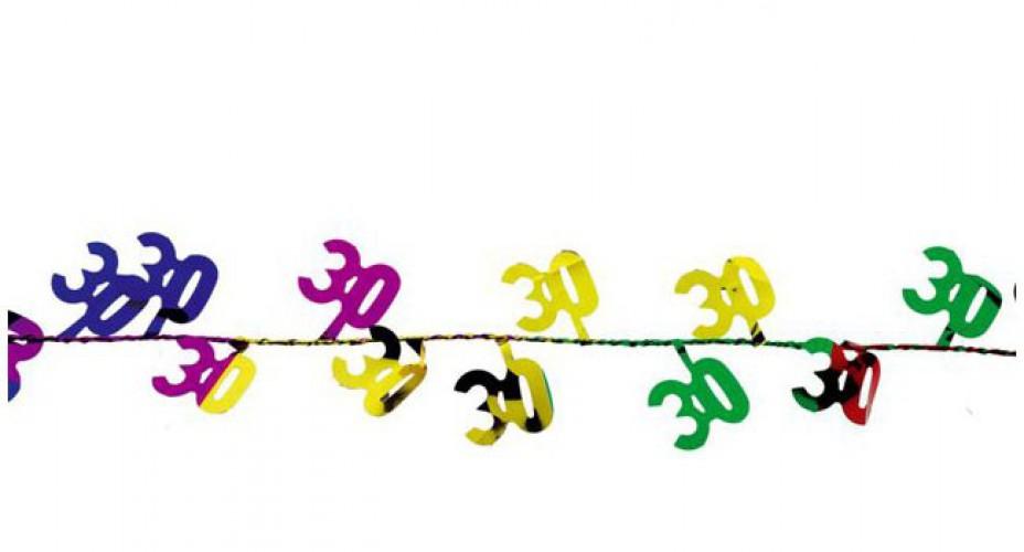 Gekleurde slinger 30 jaar 270 cm