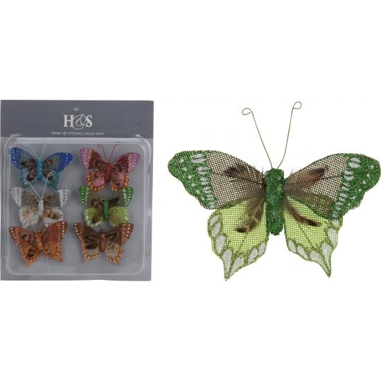 Gekleurde vlinders op clip 6 stuks