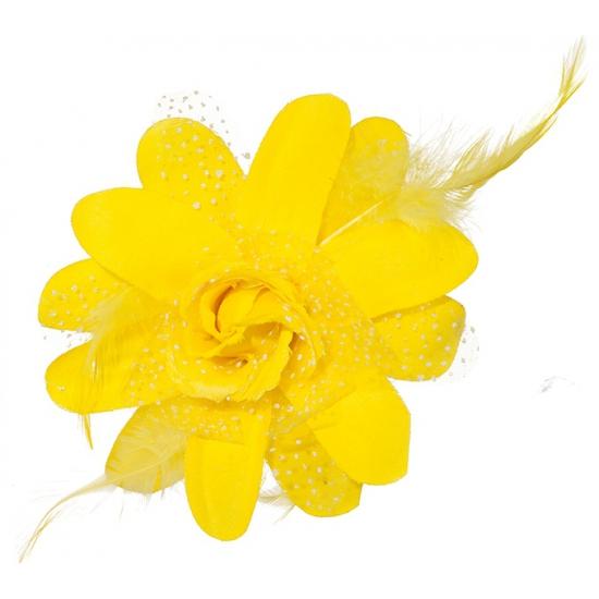 Gele Hawaii bloem met clip