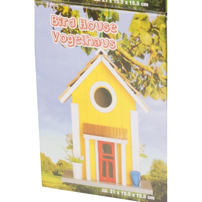 Gele houten vogelhuizen 15 x 20 cm