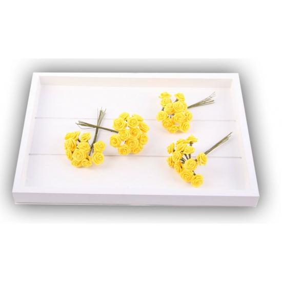 Gele satijnen roosjes 12 cm