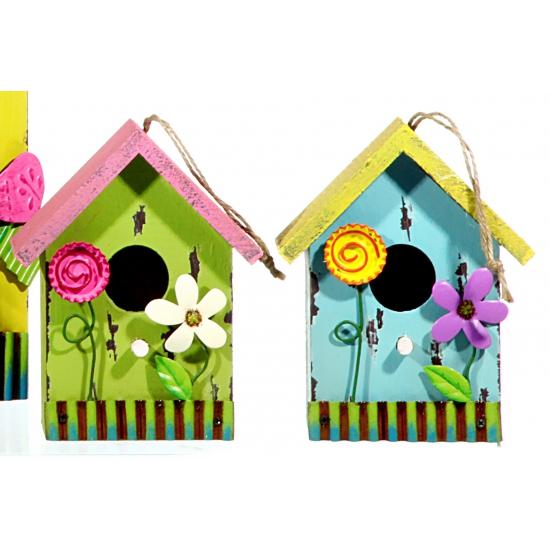 Gele vogelhuisjes met bloemen 16 cm