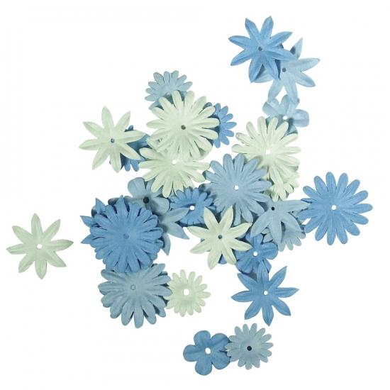 Gemengde blauwe hobby bloemen van papier