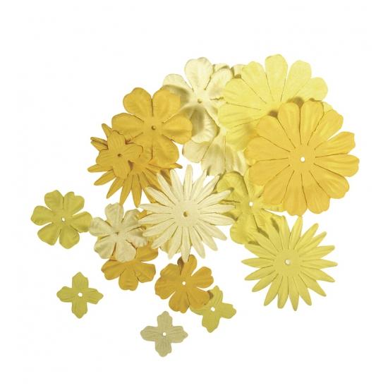 Gemengde gele hobby bloemen van papier